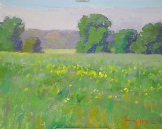 Painting of Spring Field at New Harmony First Brush of Spring